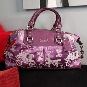 Coach Ashley purple horse & carriage satchel